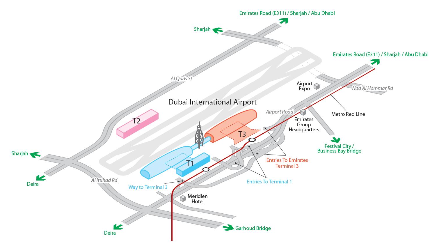 Схема аэропорт дубай 2